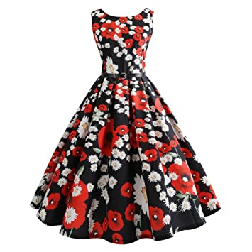 Vestidos de mujer – Saihui Audrey Hepburn 1950s Vestido de fiesta de graduación vintage Rockabilly Swing
