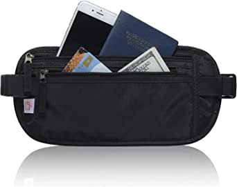 RFID Blocking Travel Wallet - Money Belt & Passport Holder, Waist Pack for Women Men - Black