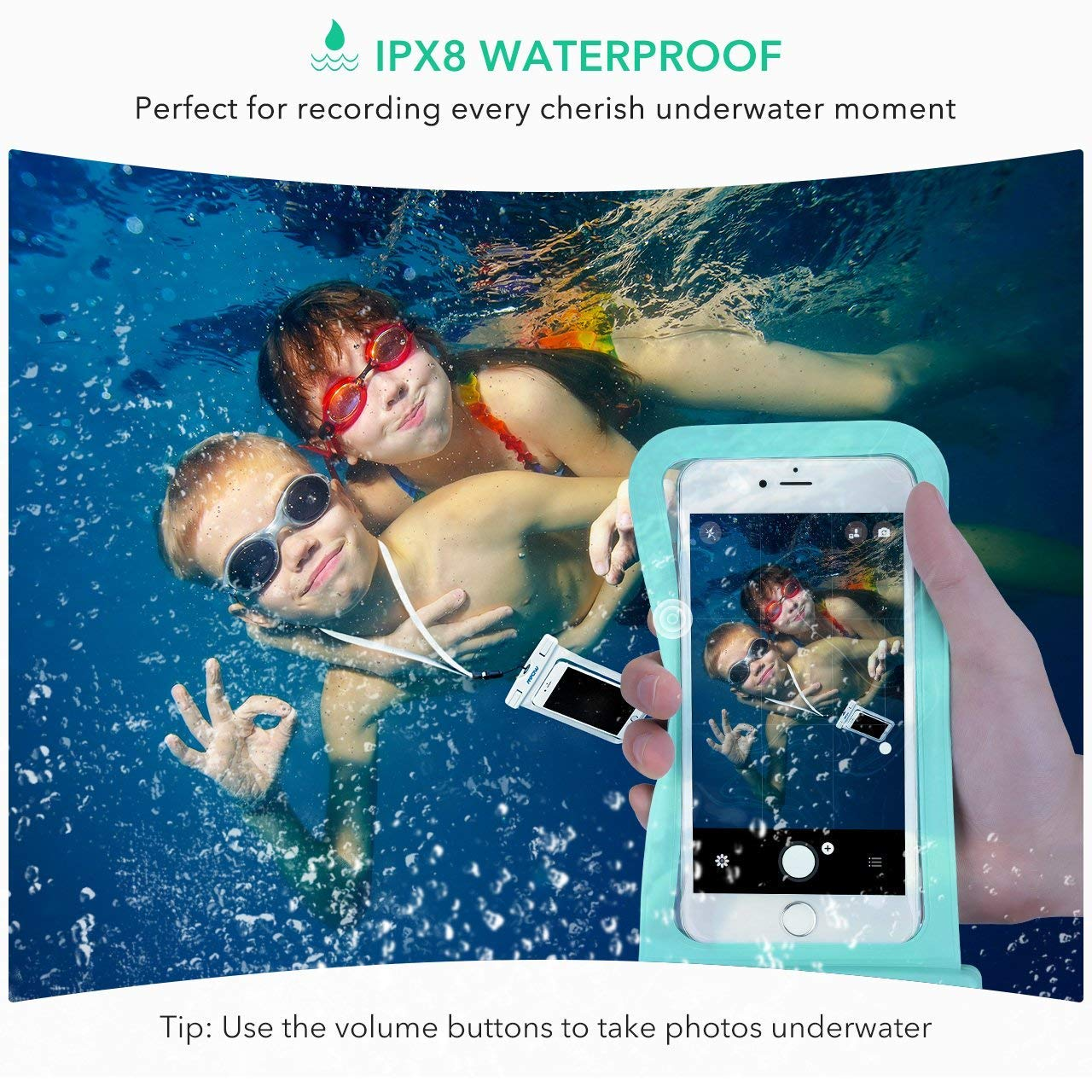 Mpow Universal Waterproof Case, IPX8 Waterproof Phone Pouch Dry Bag Compatible for iPhone Xs Max/Xs/Xr/X/8/8plus/7/7plus/6s/6/6s Plus Galaxy s9/s8/s7 Google Pixel HTC12 (Light Blue+Black 2-Pack) by Mpow (Image #7)