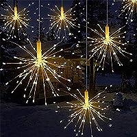 Luces LED de fuegos artificiales, alambre de cobre 120 luces LED a prueba de agua flash de Navidad sala de control…