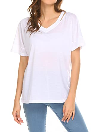 84ebd368a0d Showyoo Casual Short Sleeve Loose T-Shirt Tops V Neck Tee Shirt for Juniors  White