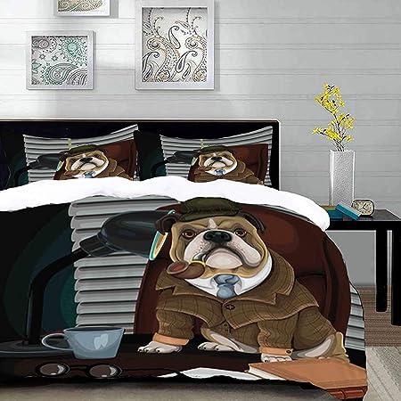 Copripiumino Bulldog Inglese.Set Biancheria Da Letto Set Copripiumino In Microfibra Con Federa