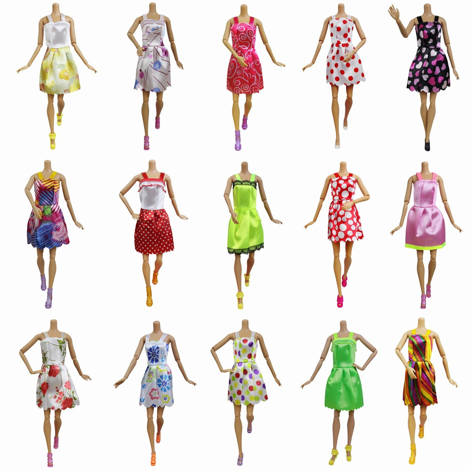Amazon.com: 10 PCS Doll Clothes Party Mini Gown Dress + 10 Pair of Shoes fit for 11.5 inch Barbie Doll Birthday Christmas Gift - Ramdon Design Outfits: Toys ...