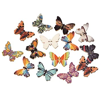 housweety 100pcs wooden buttons butterfly shape mixed color 2 hole sewing scrapbook diy - Butterflies To Color 2