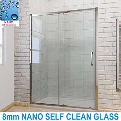 ELEGANT 1700 X 900mm Sliding Shower Door Modern Bathroom 8mm Easy Clean Glass Enclosure Cubicle With Tray And Waste Amazoncouk