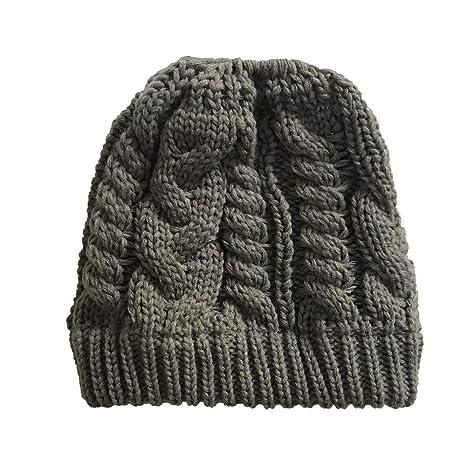 Longra Donna Winter Cappello Invernale Di Lana Berretto Beanie Hat Pera  Jersey Invernale Berretto Maglia Cappello Beanie Cappelli Con Buco Per Coda  Di ... 95c43329558a