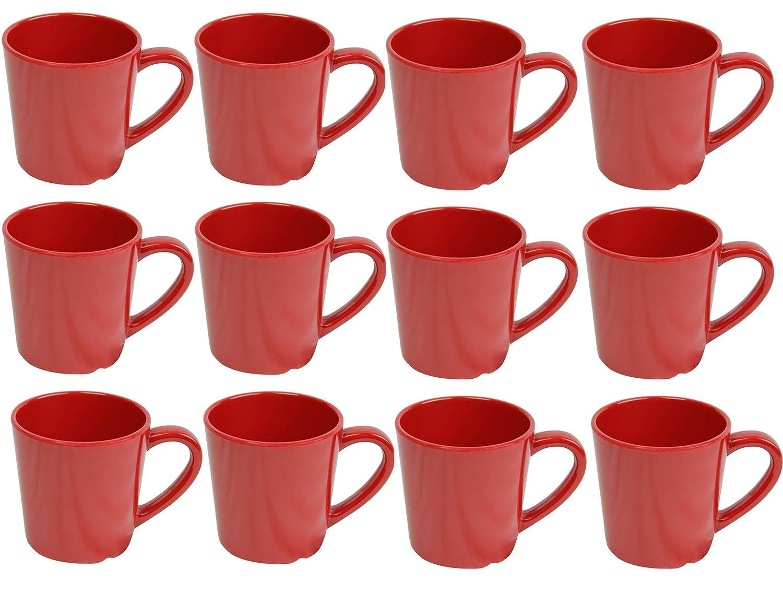 Break Resistant BPAフリー、ServeホットまたはCold Beverage、NSF認証メラミンマグカップ7オンス赤のセット12   B07984C15T