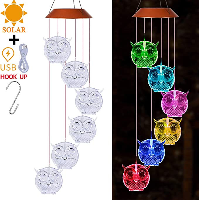 XXSCHY Waterproof Changing Color Owl Wind Chime