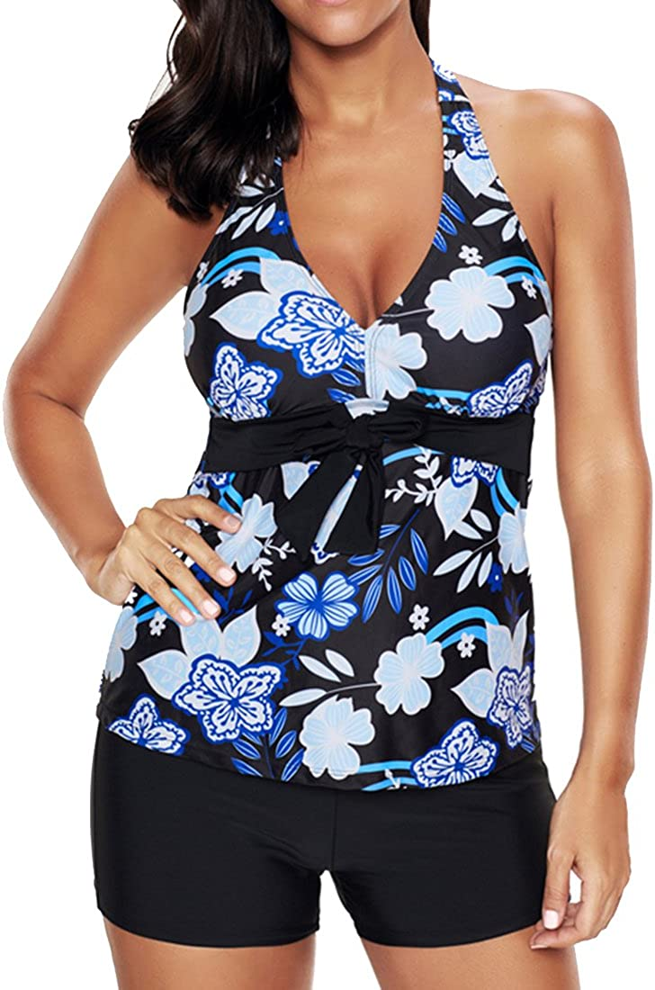 YuanYan Womens Halter Neck Tankini Sets Two Piece Front Strappy Backless Swimsuit Padded Bathing Suit