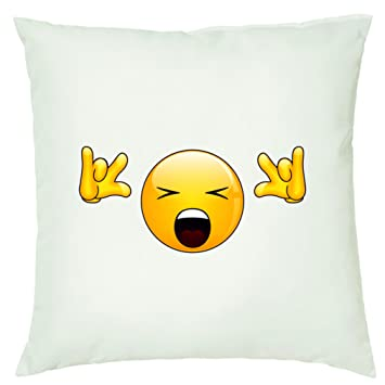 cushion cover 40 x 40 cm with zip fastener smiley rock n roll