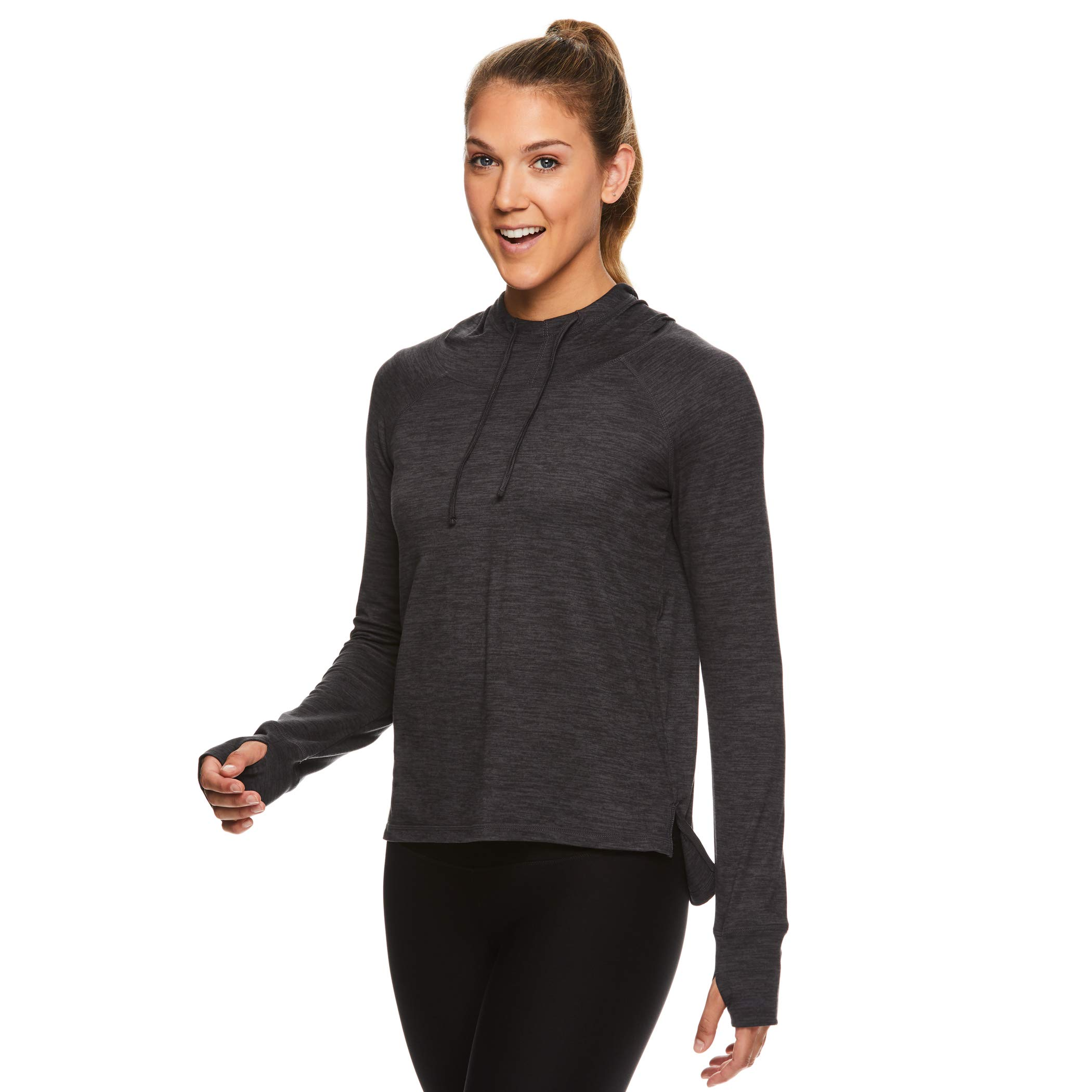 Gaiam Women's Pullover Hoodie Yoga Sweatshirt - Lightweight Long Sleeve Athleisure Sweater - Maya Gaiam Solid Asphalt Heather, X-Large by Gaiam