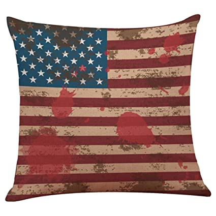 July 4th Patriotic Vintage American Flag Pillow Case Cotton Linen Cushion Cover Couch Throw