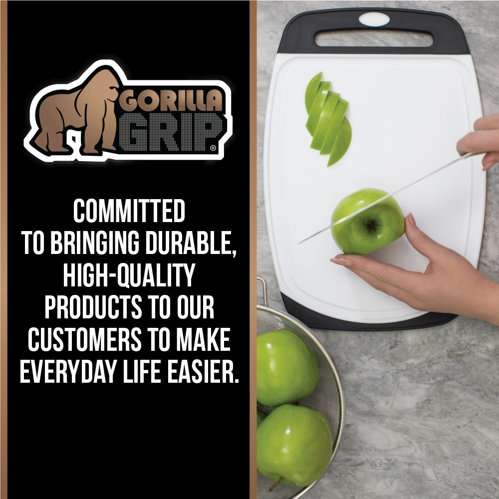 GORILLA GRIP Original Reversible Cutting Board (3-Piece), BPA Free, Dishwasher Safe, Juice Grooves, Larger Thicker Boards, Easy Grip Handle, Non-Porous, Extra Large (Set of Three: Gray, Red, Green) by Gorilla Grip (Image #4)