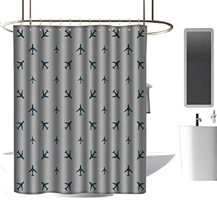 AirplaneBathroom Decor Sets With Shower Curtains And Rugs VintageDiagonal Stripes Blue