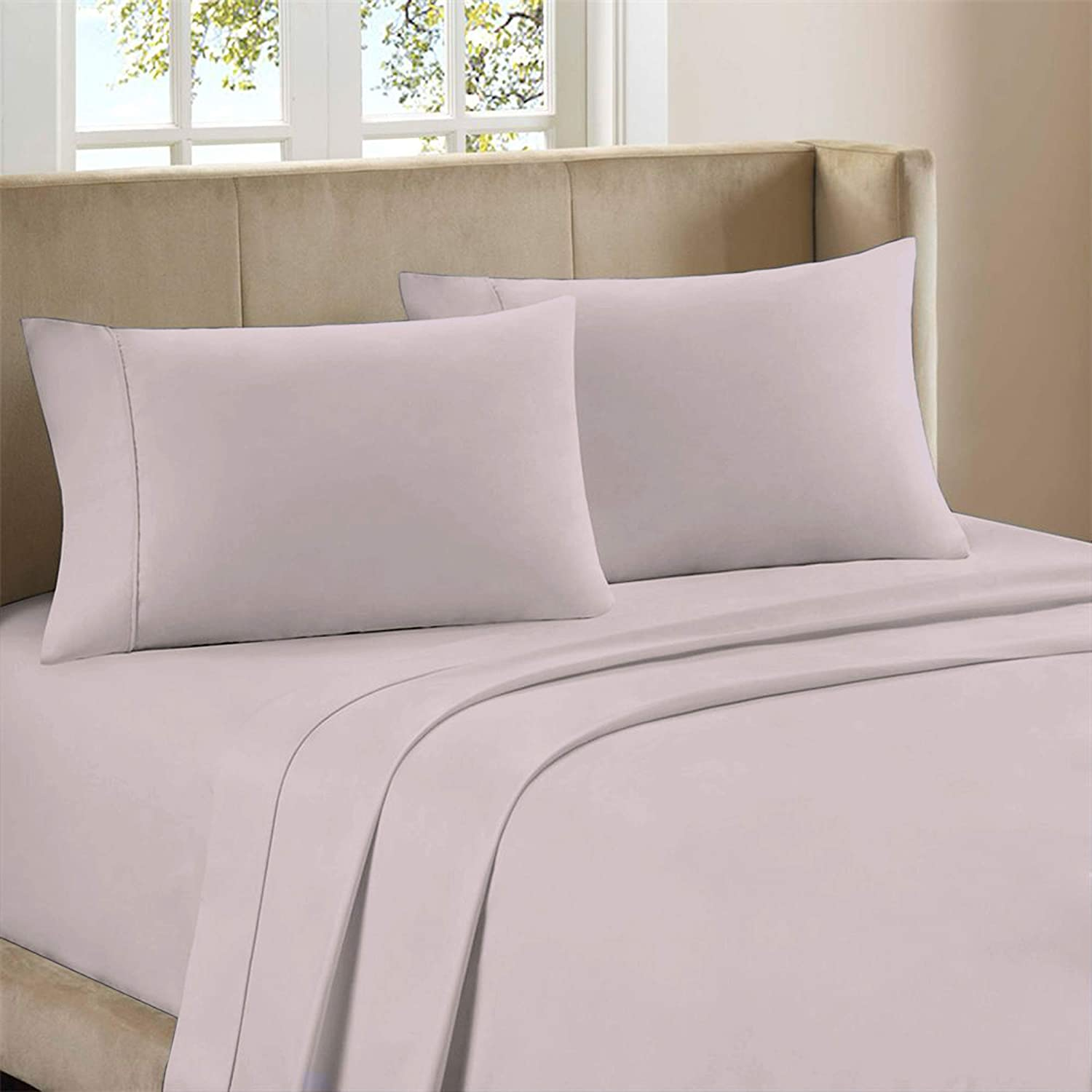 "300-Thread-Count Pure Organic Cotton Percale Sheet Set, Luxury 3 Piece Lavender Twin Size Sheets,Moisture Wicking,Cool Crisp & Breathable,Patented Fitted Sheet Fits Upto 18"" Deep Pocket - Purity Home"