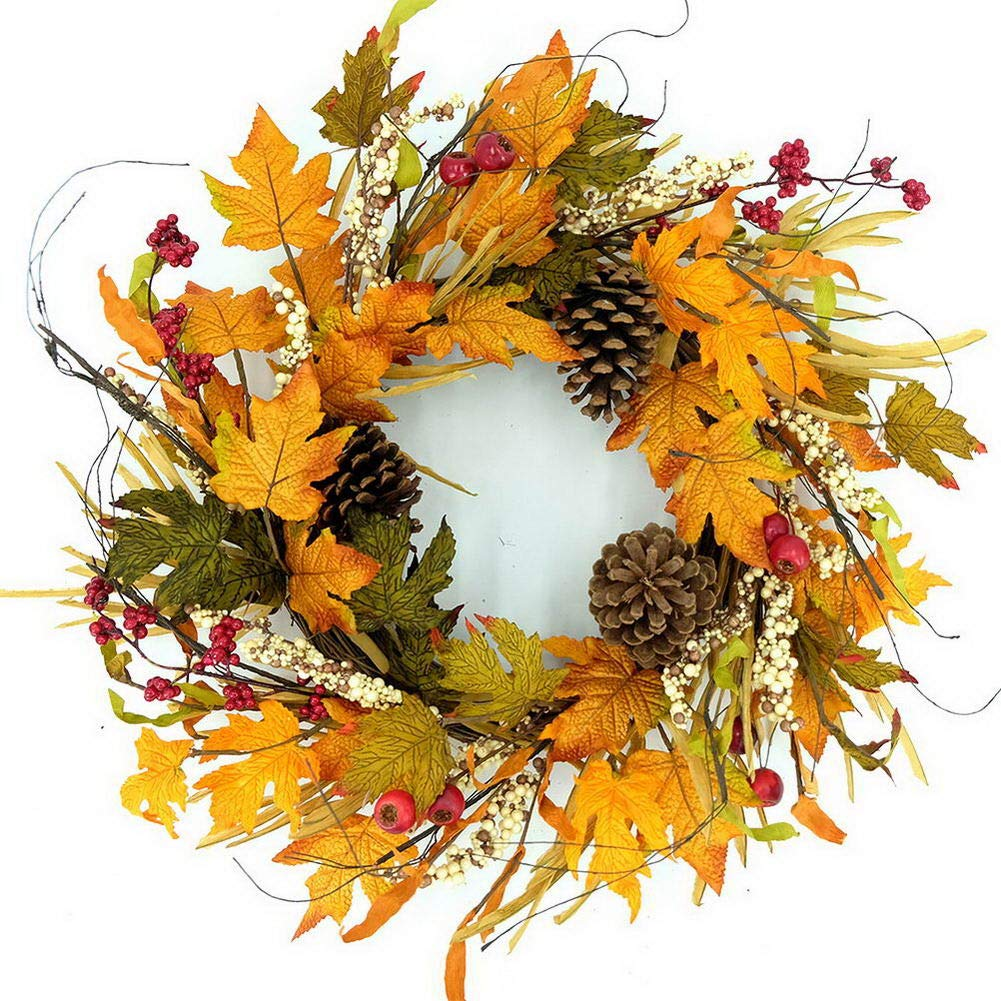 "Idyllic 20"" Autumn Pine Cone Wreath with Berry Decorative Faux Artificial Harvest Fall Maple Leaves Harvest Front Door Decor Wreath"
