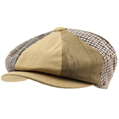 Men s Cotton Plaid Snap Open 8 Panel Newsboy Drivers Cabbie Cap Hat Lt  Khaki Medium c0b60c2164fa
