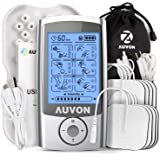 "AUVON Rechargeable TENS Unit Muscle Stimulator, 3rd Gen 16 Modes TENS Machine with 8pcs 2""x2"" Premium Electrode Pads (American Gel ) for Pain Relief"