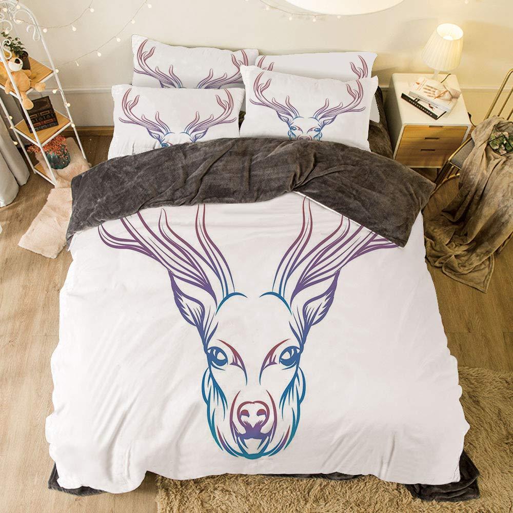 iPrint フランネル布団カバー4点セット ベッドリネン 冬休み柄 Antler 装飾 カラフル Born to Be Wild スローガン カートゥーンスタイル 鮮やかな角と花柄エレメント 装飾 マルチカラー bed width 6.6ft(200cm) BotFLR_Hei_01685_2mCalif king B07LCPFKLJ カラー5 bed width 6.6ft(200cm)