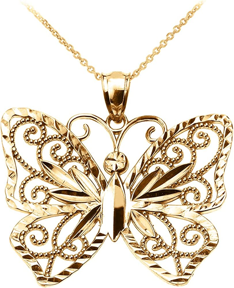 14k White And Yellow Gold Butterfly Pendant Charm