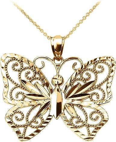 Butterfly Pendant Charm Fashion 10K Yellow Gold