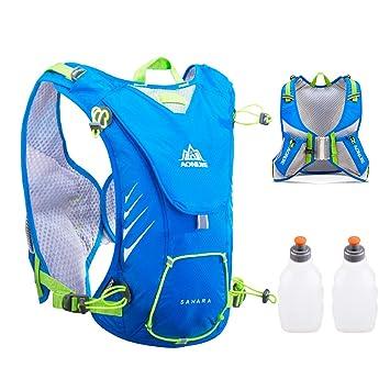 TRIWONDER Chaleco de hidratación Ligero 8L Superior Mochila para Trail Running Ciclismo Maratón para Mujer Hombre Niño (Azul - con 2 Botellas de Agua): ...