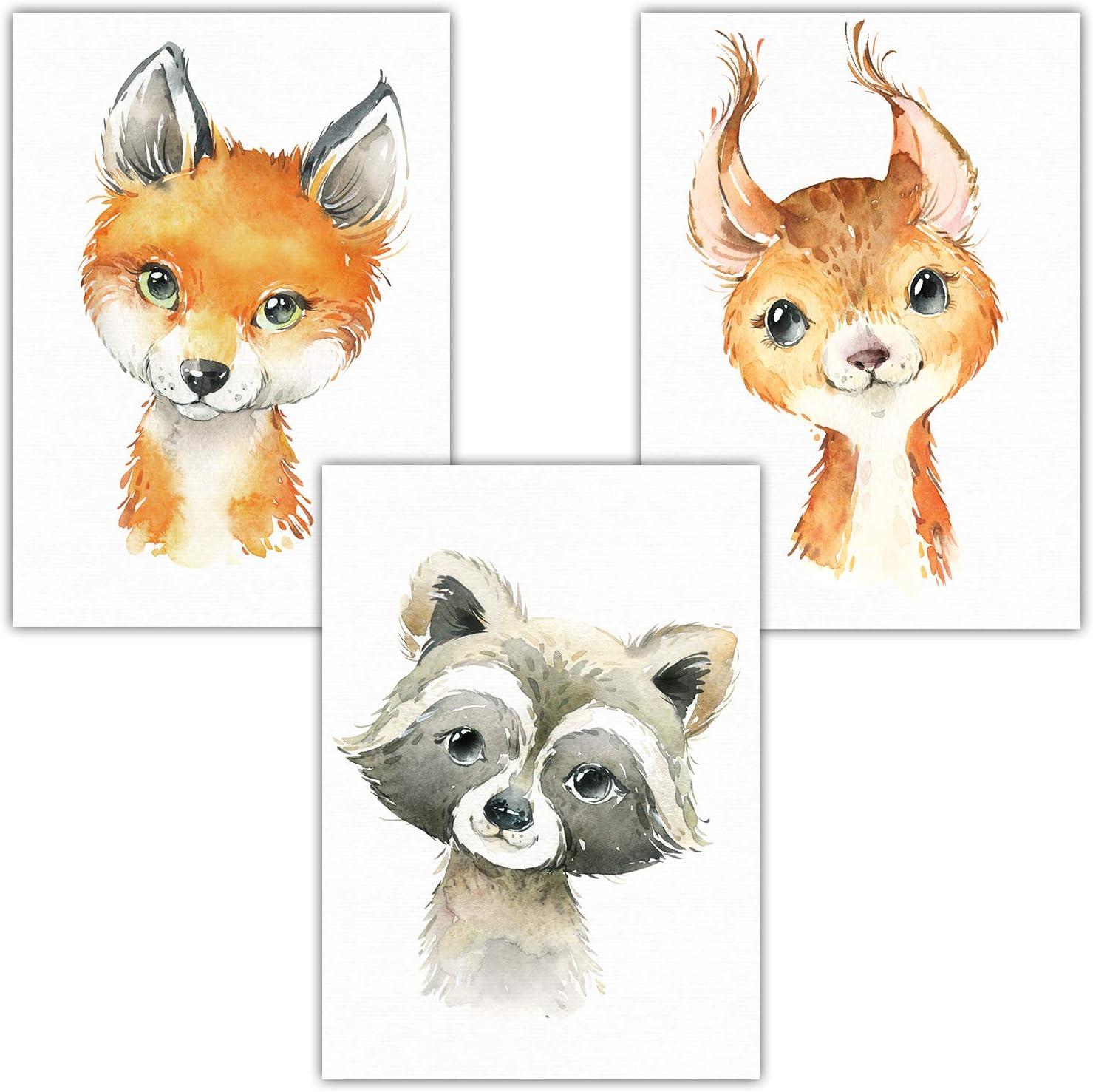 Juego de 4 p/ósteres decorativos para habitaci/ón infantil /África dise/ño de animales del bosque Frechdax/® DIN A4 safari estrellas. nube Juego de 4 azul tama/ño DIN A4