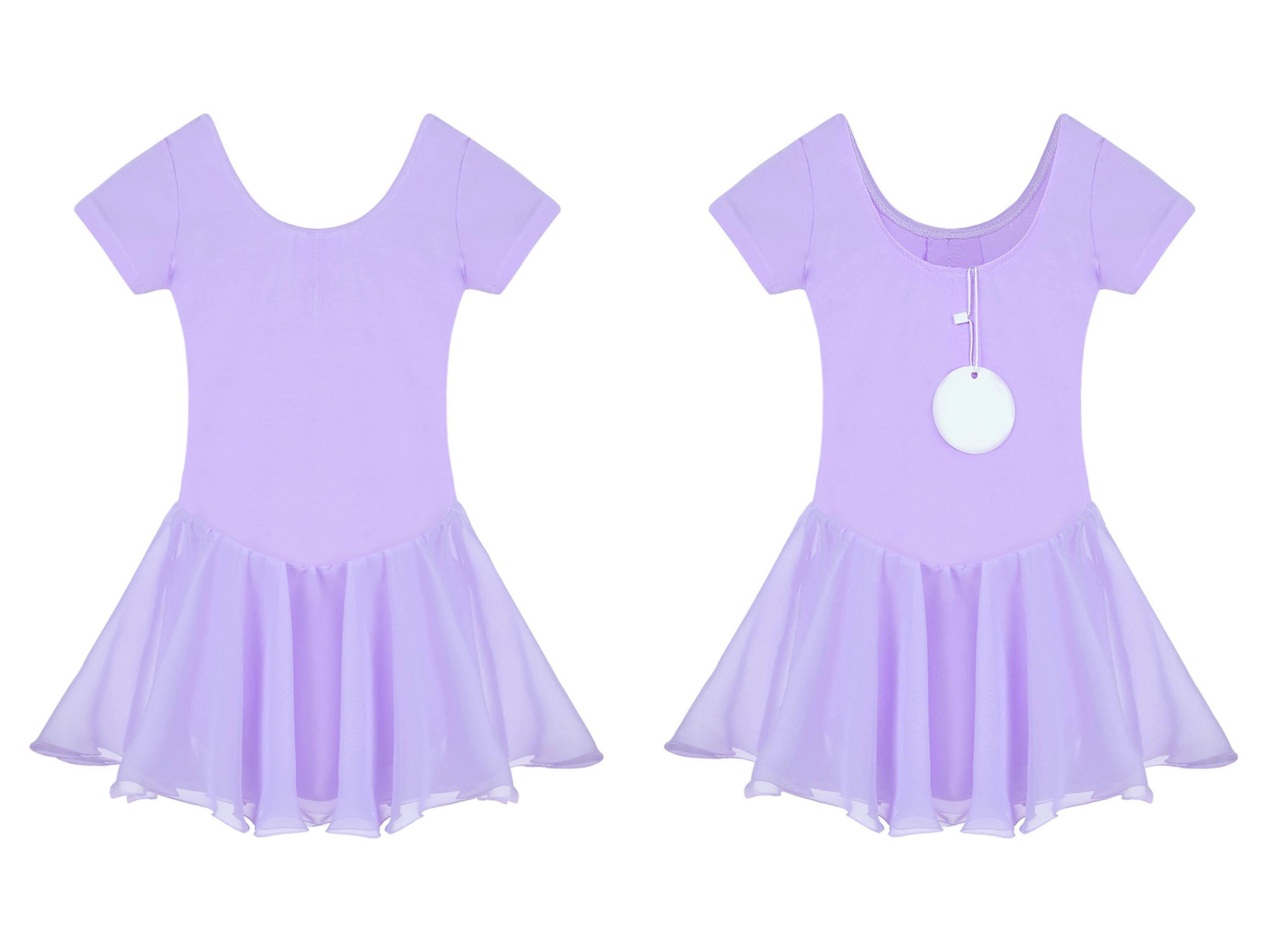 Etuoji Kids Short Sleeve Dance Skirt Girls Round Neck Ruffle Chiffon Dress