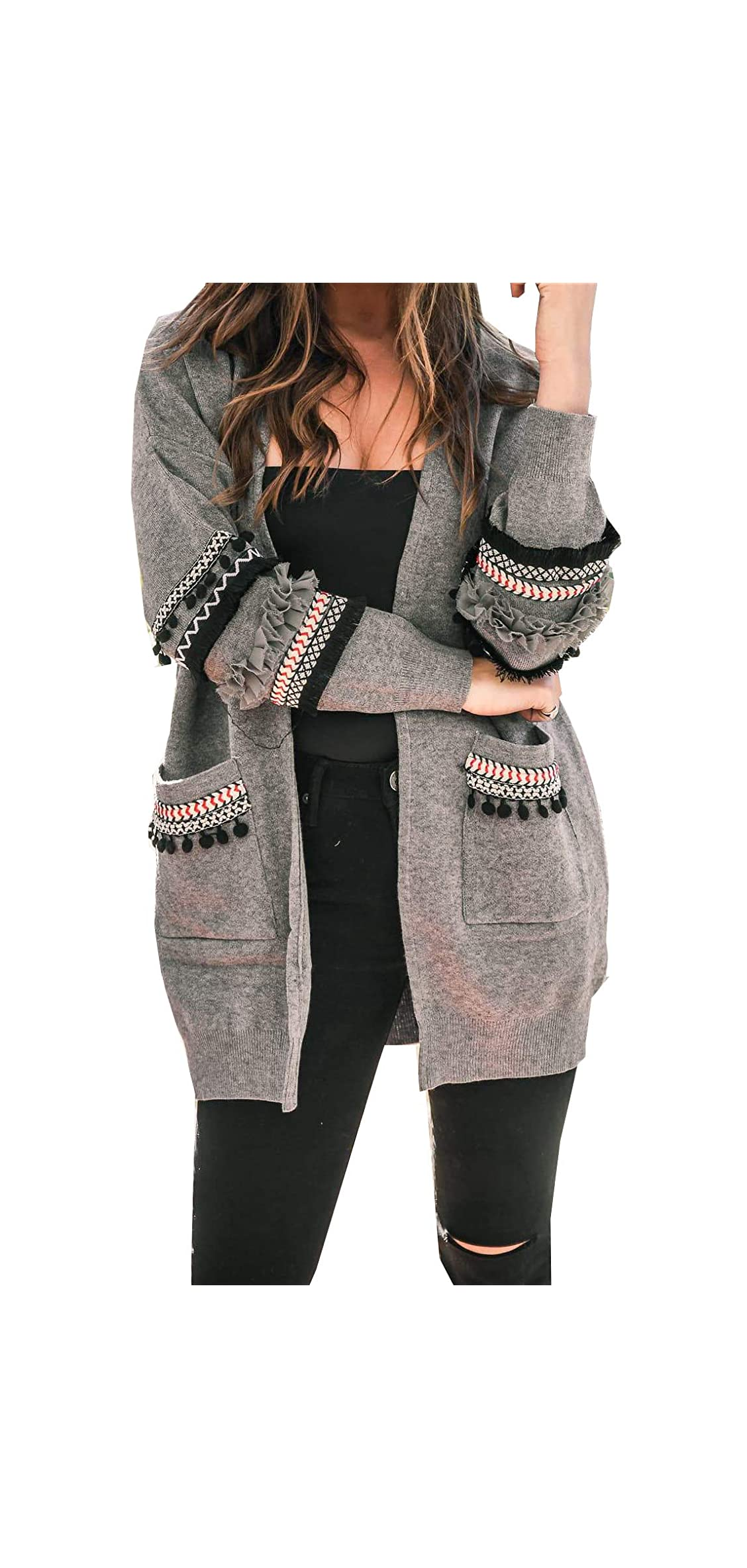 Women Boho Long Sleeve Open Front Knit Cardigan With Coat