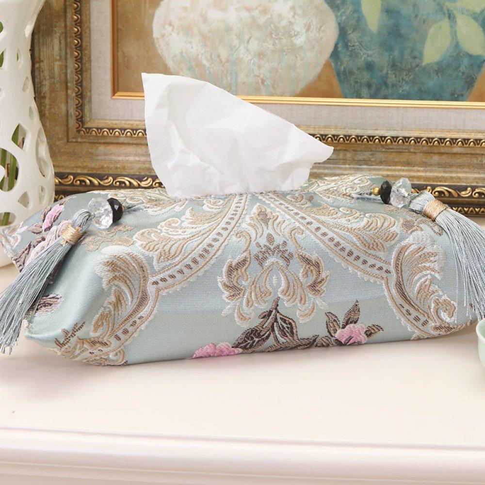 DHG High-End Fabric European Tissue Box Simple Car Car Book Box Creative Home Living Room Tissue Cover,Light blue,Average code