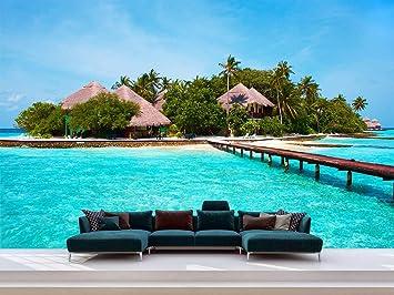 Fotomural Vinilo Pared Casas Isla Playa Fotomural Para Paredes