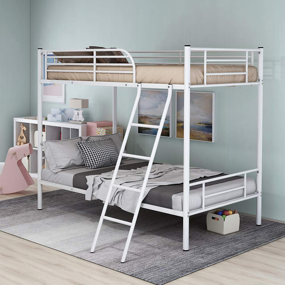 Romatlink Bunk Bed Twin Over Twin Metal Frame with Ladder and Guard Rail for Kids Teens Children Adults Space Saving Design -Easy Assembly- White