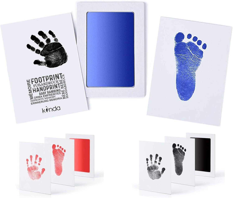 Inkless Pad dencre et deux cartes dimpression de haute qualit/é B/éb/éClean Touch bleu peau de b/éb/é dentrer en contact avec de la peinture de kiinda