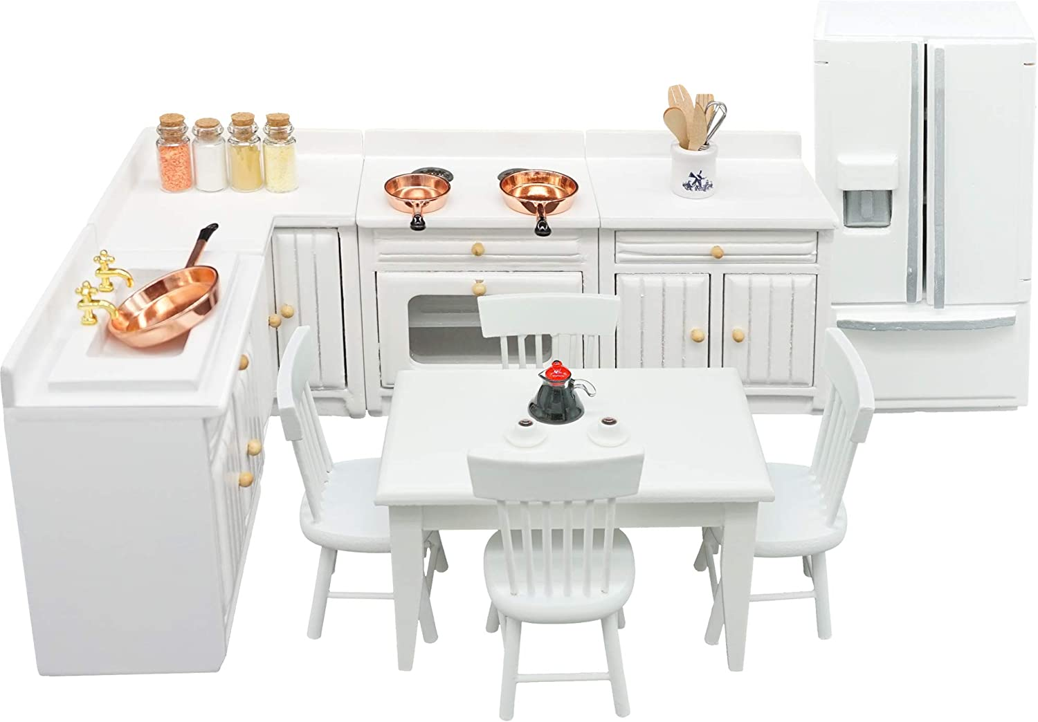 SAMCAMI Dollhouse Furniture Kitchen Set (26 pcs) - Freely Combined Kitchen Cabinets, Dining Table with Chairs, Refrigerator and Other Accessories for 1 12 Scale Miniature Dollhouse (White)