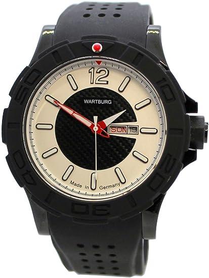 WARTBURG Reloj Deportivo de Hombre fabricado en Alemania acero inoxidable negro blanco rojo Day Date 47