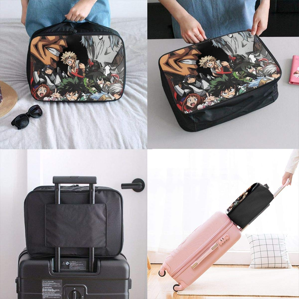 GEWKHKI My Hero Academia Travel Duffel Bag Portable Storage Carry Luggage Tote Trolley Bag