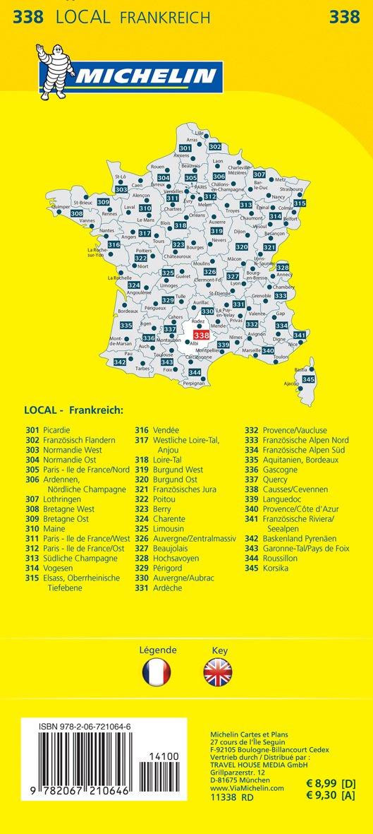 Cevennen Karte.Michelin Causses Cevennen Straßen Und Tourismuskarte 1 150 000