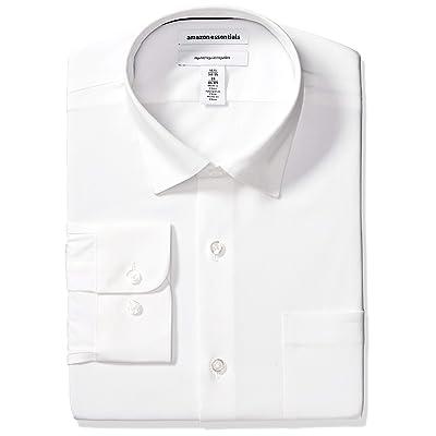 Essentials Men's Regular-fit Wrinkle-Resistant Stretch Dress Shirt: Clothing
