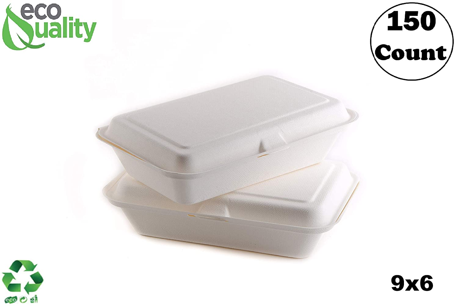 150 Count - Biodegradable 9x6 Take Out Food Containers with Clamshell Hinged Lid - Eco Friendly Sugarcane Bagasse 100% Compostable, Recyclable, Togo, Restaurant Carry Out, Party Take Home Boxes