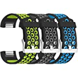 SKYLET for Fitbit Charge 2 Bands, 3 Pack Breathable Silicone Replacement Sport Wristbands for Fitbit Charge 2 with Secure Watch Clasp Men Women(No Tracker)
