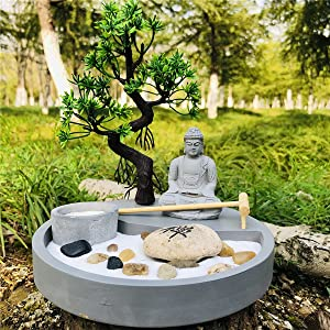 Zenkeeper Japanese Zen Garden for Desk, Tabletop Mini Zen Garden Kit with Accessories
