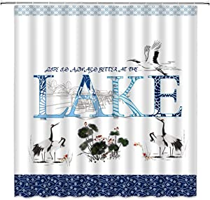 AMHNF Cabin Lake Rules Shower Curtain Life is Better at The Lake Blue Funny Quote Vintage Mandala Floral Vintage Japanese Ink Painting Bathroom Decor Fabric with 12 Hooks,70x70 Inch