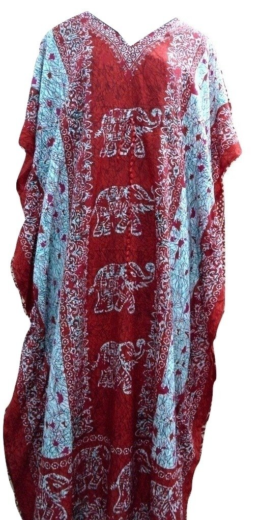 RiSi Women's Elephant Print Kaftan, V-Neck Kimono Long Caftan Dress RC-042