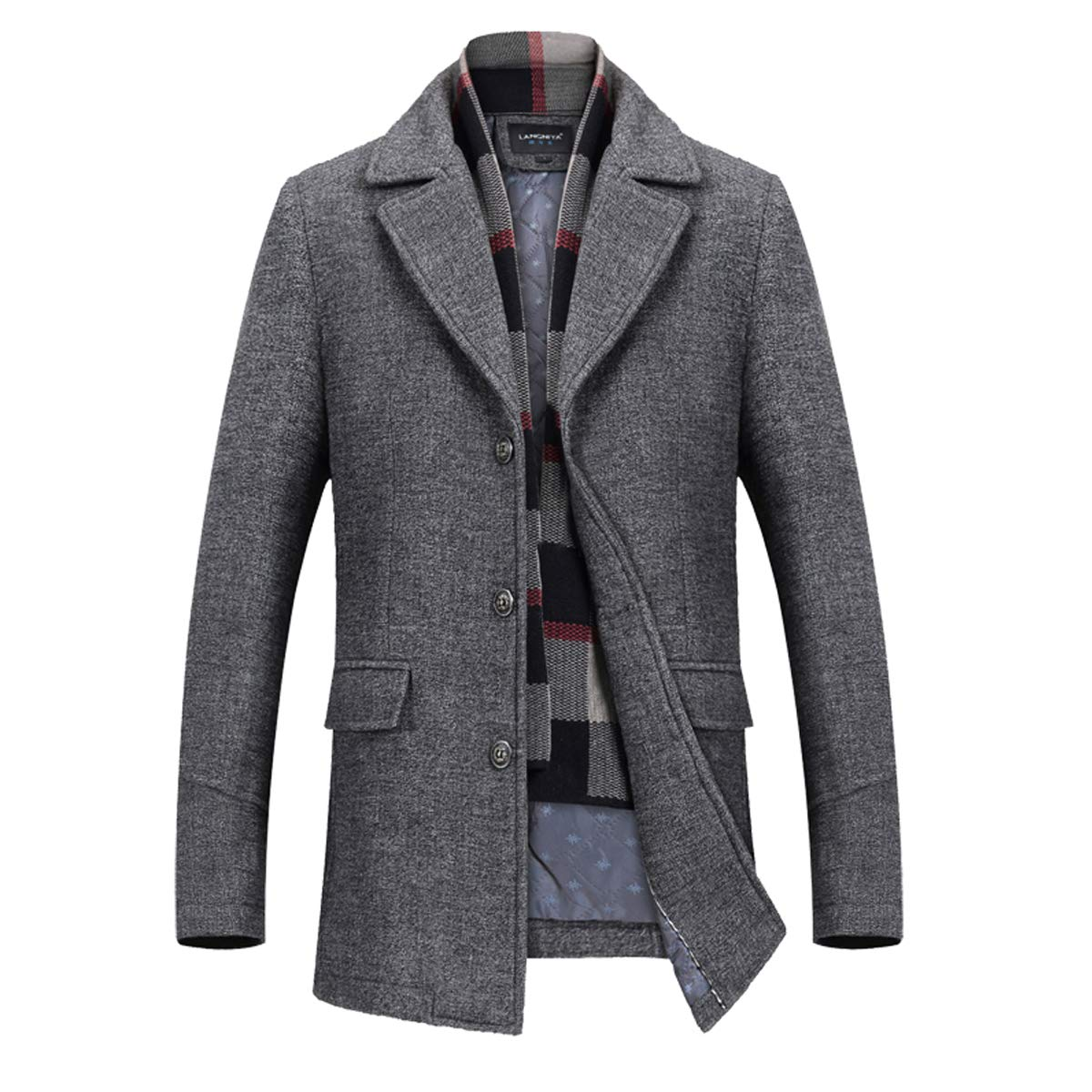INVACHI Men's Slim Fit Winter Warm Short Wool Blend Coat Business Jacket with Free Detachable Soft Touch Wool Scarf by INVACHI