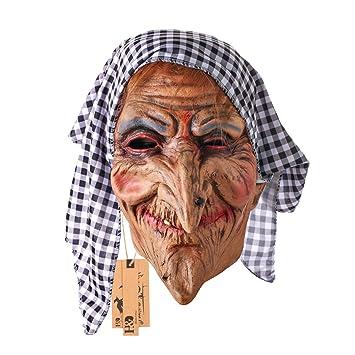 Hyaline & Dora Vieja Bruja Máscara con pelo y pañuelo en la cabeza de látex para