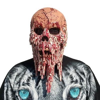 ACAMPTAR Mascara terrorifica del Terror demoniaco Carnaval y Halloween Disfraz de Adulto Latex, Unisex Un Tamano para Todos: Juguetes y juegos
