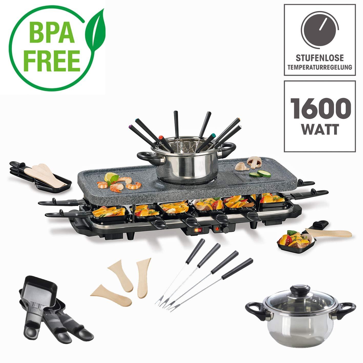 Set per raclette e fonduta per 4-6 - 12 persone, 1600 Watt, rivestimento antiaderente in ceramica BPA feie DS Produkte GmbH