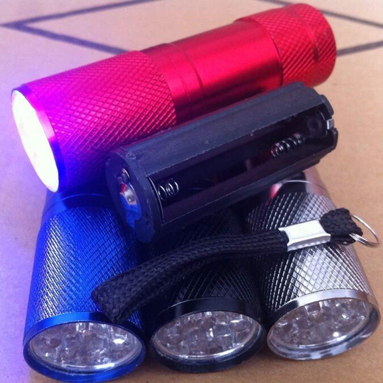 Rose Rouge BIYI Mini Aluminium 9 LED Torche UV Ultra Violet Lampe de poche /étanche