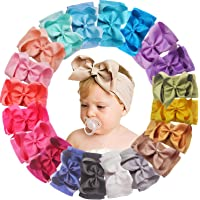 20 Colors 6 Inches Baby Girls Large Big Bows Headbands Elastic Nylon Hairbands Turban Hair Accessories for Newborns…