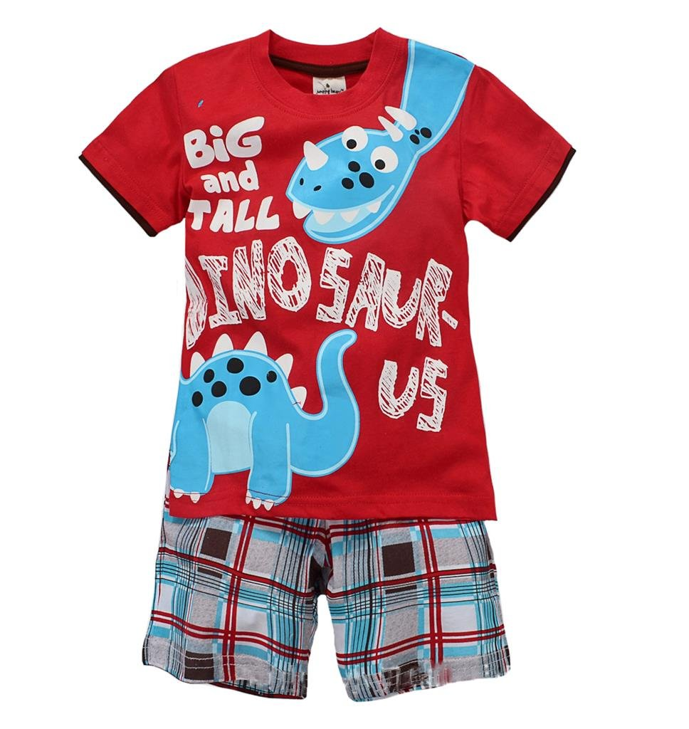 Coralup Toddler Boys Girls Dinosaur Short Sleeve Cotton 2 PCS Set (Red,4-5Years)